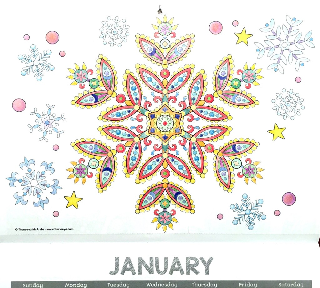 2016 coloring Calendar January
