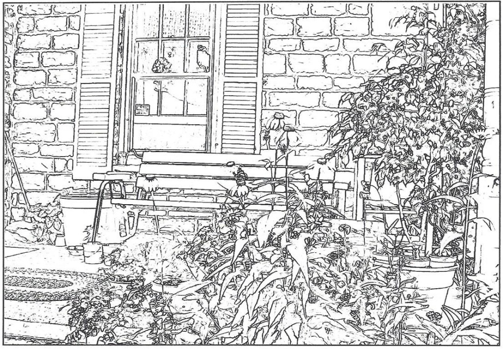 Stonehouse front porch coloring picture